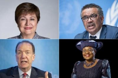 Kristalina Georgieva IMF), Tedros Adhanom Ghebreyesus (WHO), David Malpass (World Bank) and Ngozi Okonjo-Iweala (WTO)