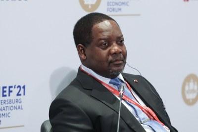 Le Premier ministre centrafricain Firmin Ngrebada au Forum économique international de Saint-Pétersbourg en juin 2021.