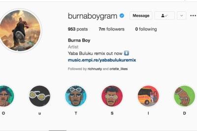 Burna Boy's Instagram page.