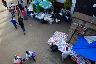 Newspaper stands in Addis Ababa in 2016.