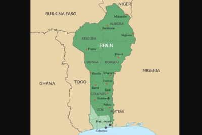 A map detailing reported kidnapping sites across Benin.