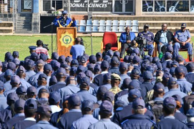Police Minister General Bheki Cele addresses a parade to thank officers  (file photo).