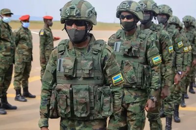 Rwandan troops embarking for Mozambique.