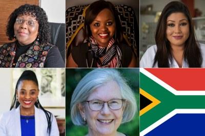 Top, left to right: Professor Koleka Mlisana, Dr Ncumisa Jilata, Dr Rehana Malgas-Enus.  Bottom, left to right: Dr Caroline Pule, Professor Michèle Ramsay, South African flag.
