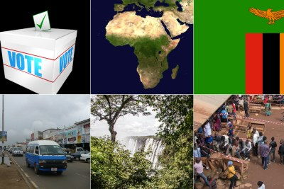 Zambia flag, top right, Lusaka street, Victor Falls-Zambia side, polling station