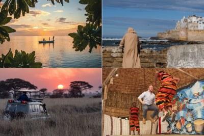 Top-left: Fishermen in Mauritius. Top-right: The coastline in Essaouira, Morocco. Bottom-left: Safari in the Serengeti. Bottom-right: A tourist dances along to a cultural song in Ethiopia.