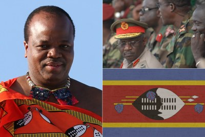 King Mswati III, left and eSwatini army generals, top right  (file (photo).